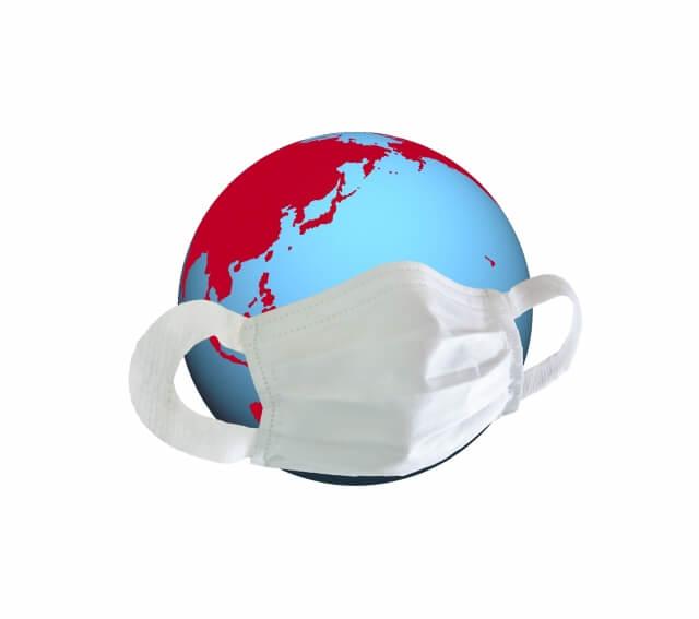 マスクをした地球