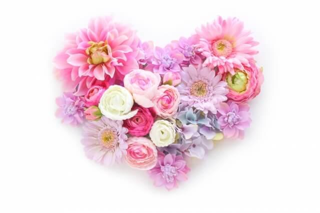 ピンクの花束のハート